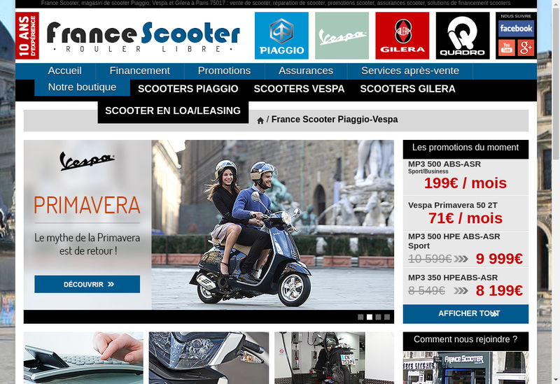 Capture d'écran du site de France Scooter Ternes