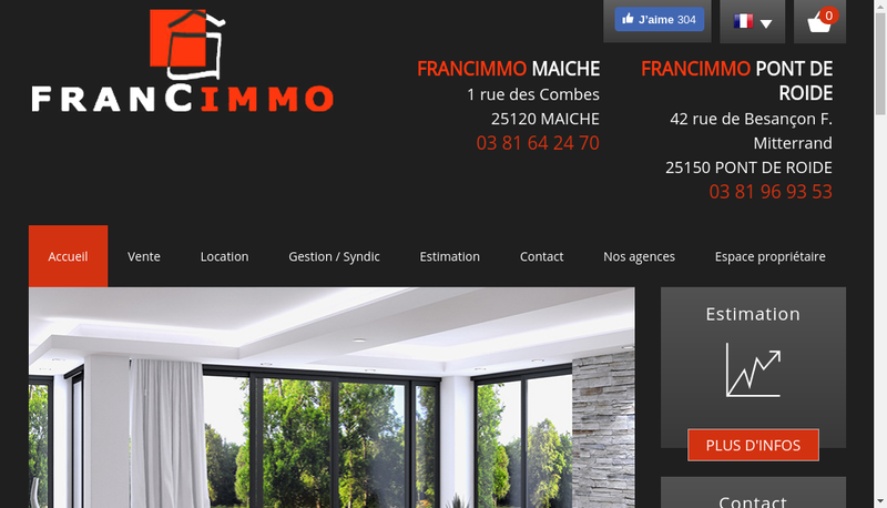 Capture d'écran du site de Francimmo Maiche