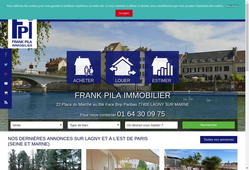 Capture d'écran du site de Frank Pila Immobilier