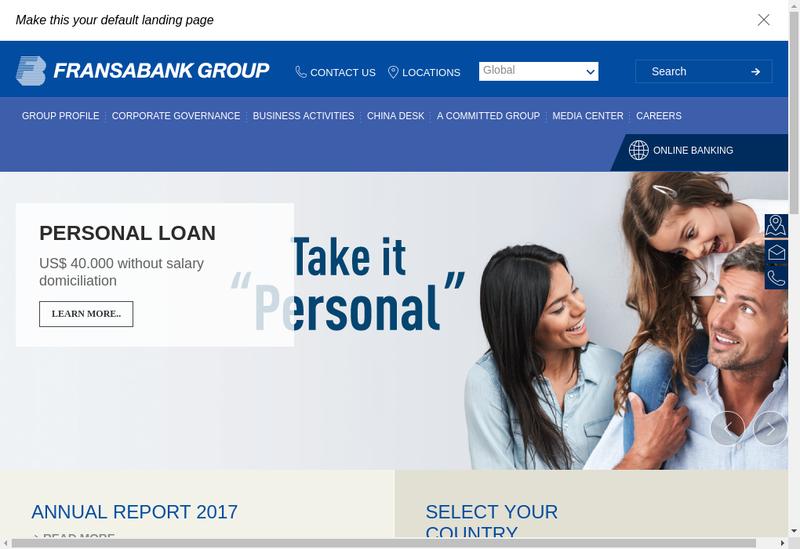 Capture d'écran du site de Fransabank France SA