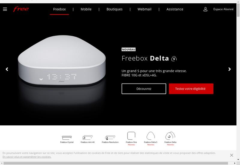 Capture d'écran du site de Free