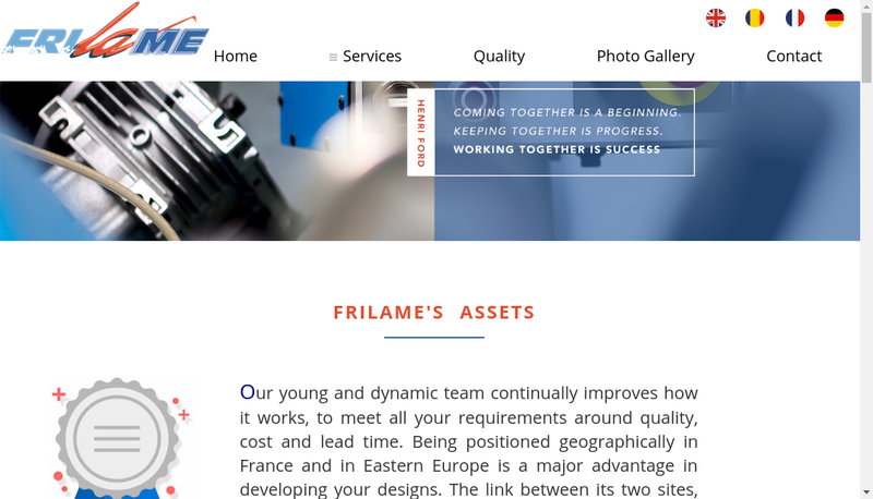 Capture d'écran du site de Frilame