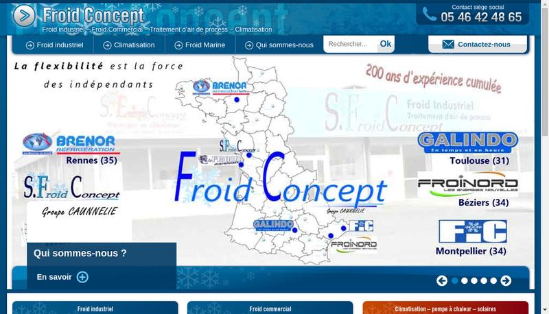 Capture d'écran du site de G Froid Concept