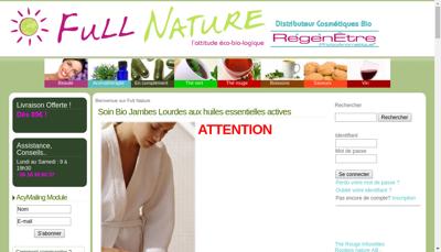 Capture d'écran du site de Full Nature