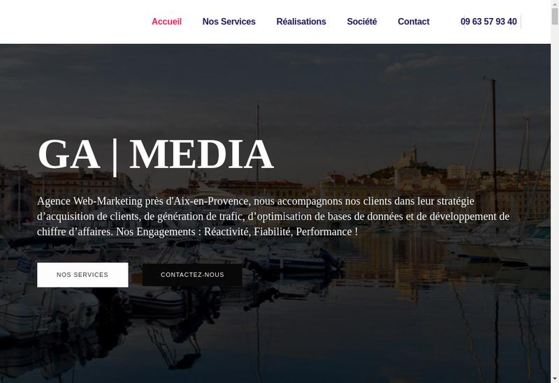 Capture d'écran du site de Ga Media