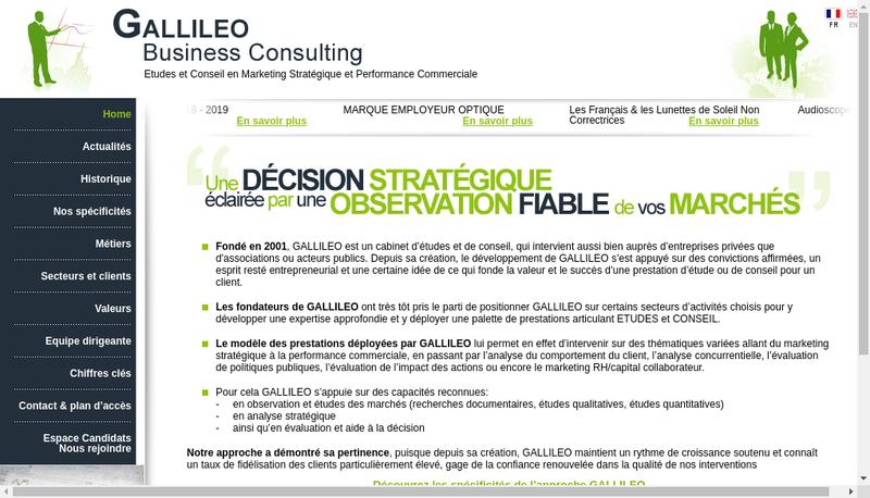Capture d'écran du site de Gallileo Business Consulting