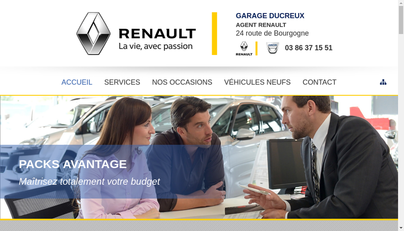 Capture d'écran du site de Garage Ducreux