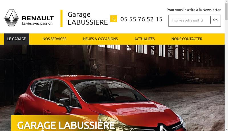 Capture d'écran du site de Garage Labussiere