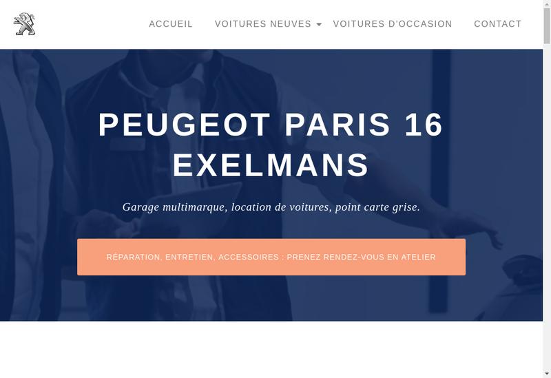 Capture d'écran du site de Paris Exelmans Automobiles