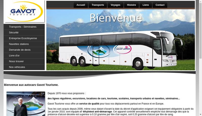 Capture d'écran du site de Gavot Tourisme/Voyages Gavot Leman/
