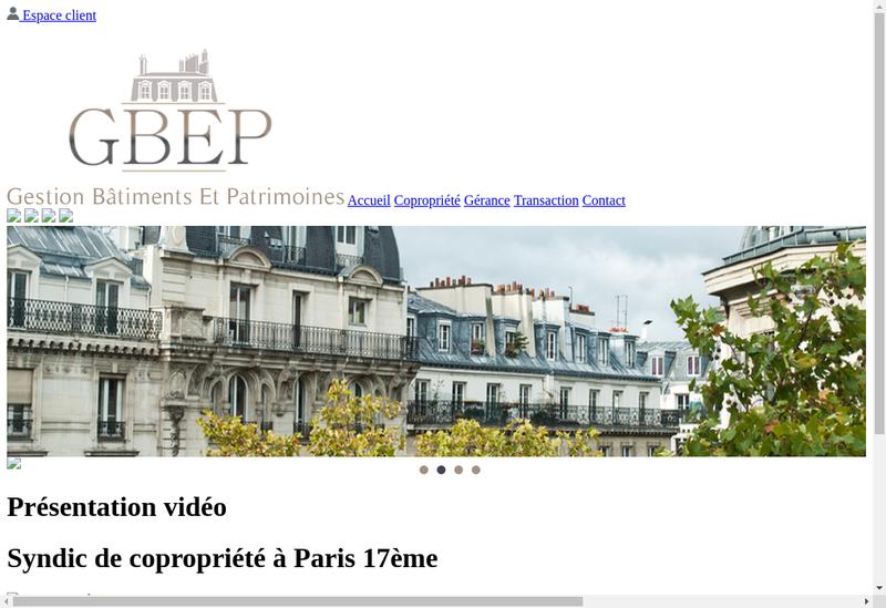 Capture d'écran du site de Gestion Batiments et Patrimoines