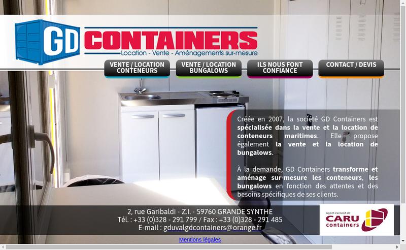 Capture d'écran du site de Gd Containers