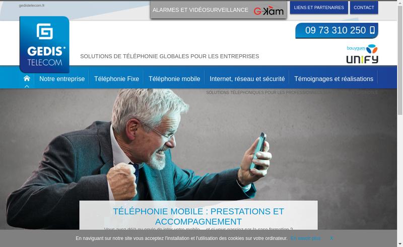 Capture d'écran du site de Gedis Telecom