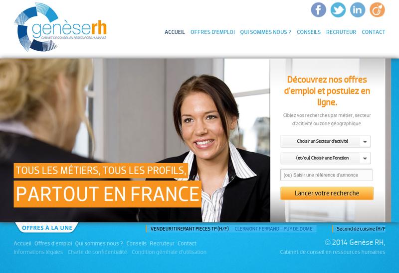 Capture d'écran du site de Genese Rh