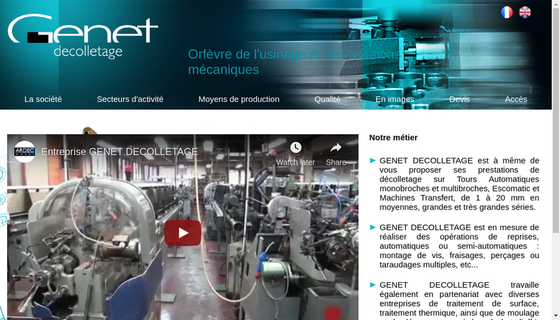 Capture d'écran du site de Decolletage Genet