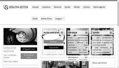 Capture d'écran du site de Geralpha Gestion