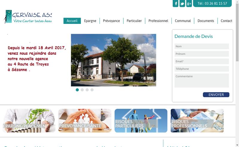 Capture d'écran du site de SARL Gervaise Assur