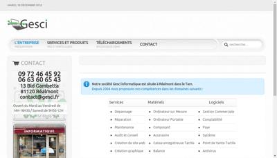 Capture d'écran du site de Gesci
