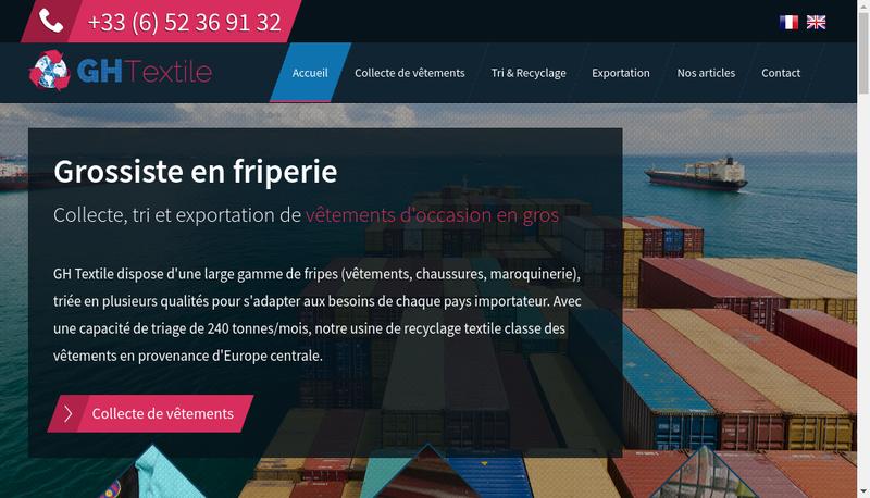 Capture d'écran du site de Gh Textile
