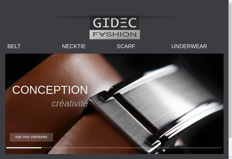Capture d'écran du site de Gidec Fashion