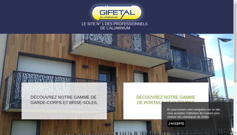 Capture d'écran du site de Gifetal Aluminium