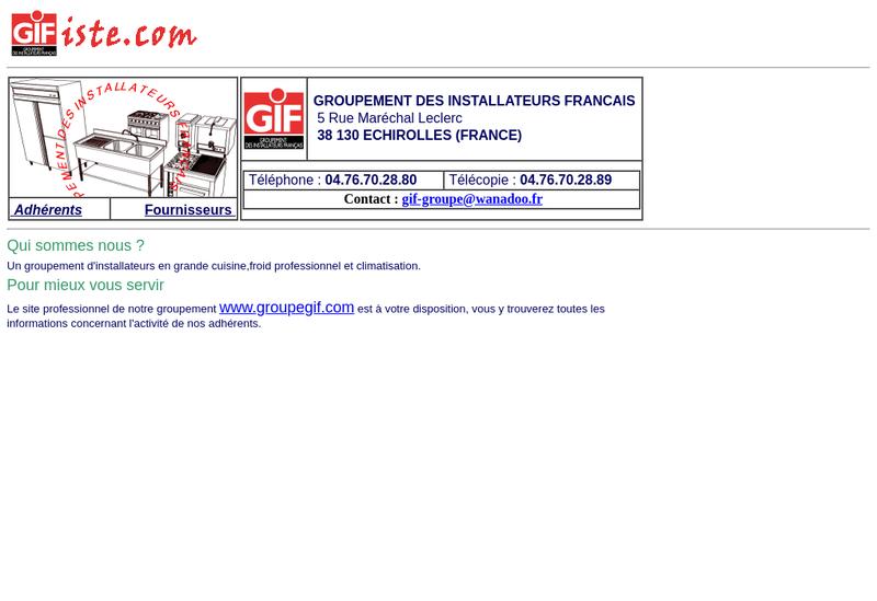 Capture d'écran du site de Groupement des Installateurs Francais