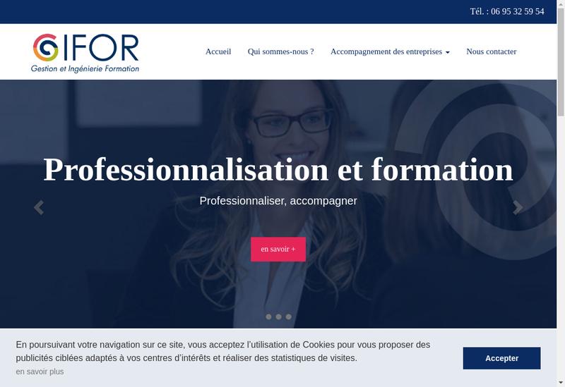 Capture d'écran du site de Gifor Service -Gifor Formation
