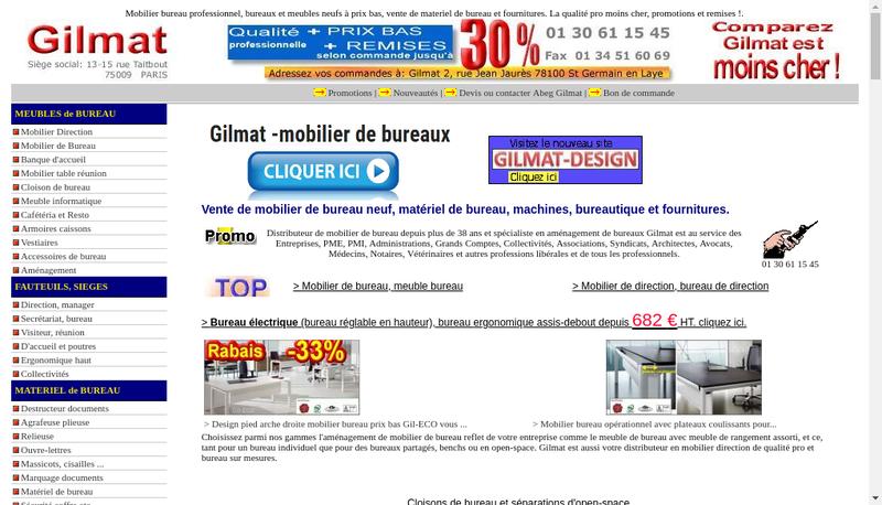 Capture d'écran du site de Gilmat