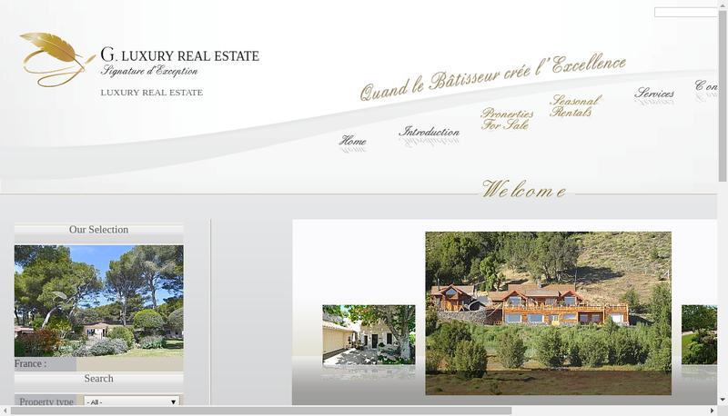 Capture d'écran du site de G Immobilier de Prestige