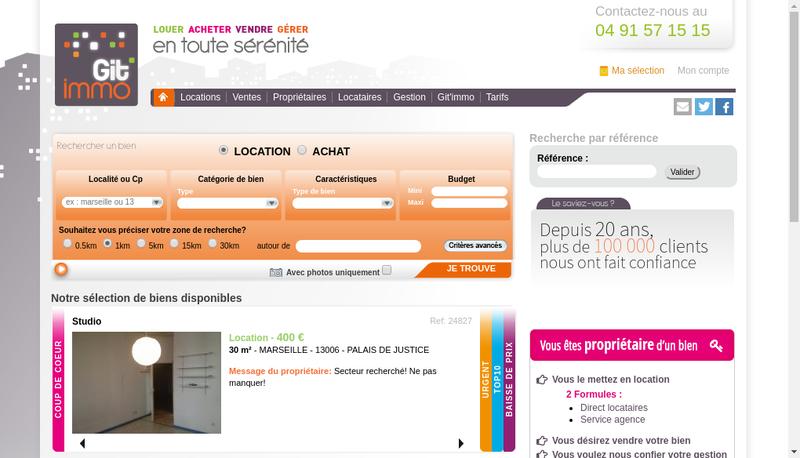 Capture d'écran du site de Git'Immo