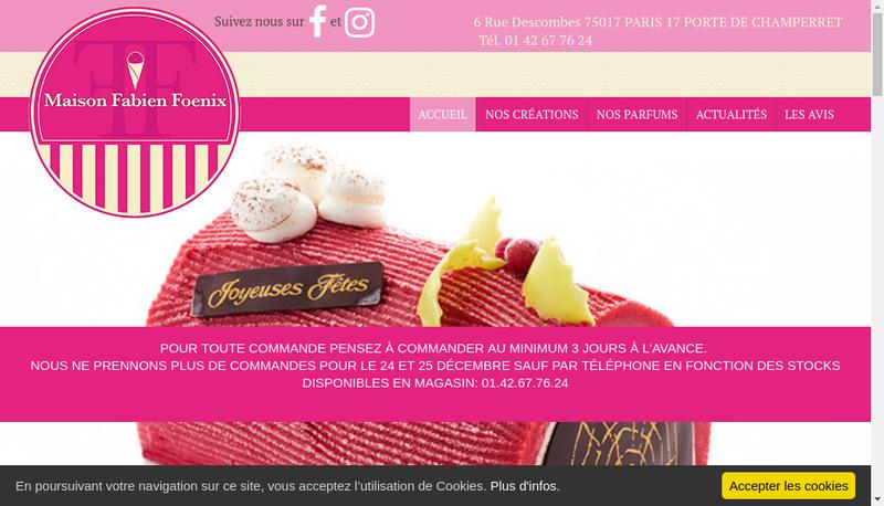 Capture d'écran du site de Mister Ice