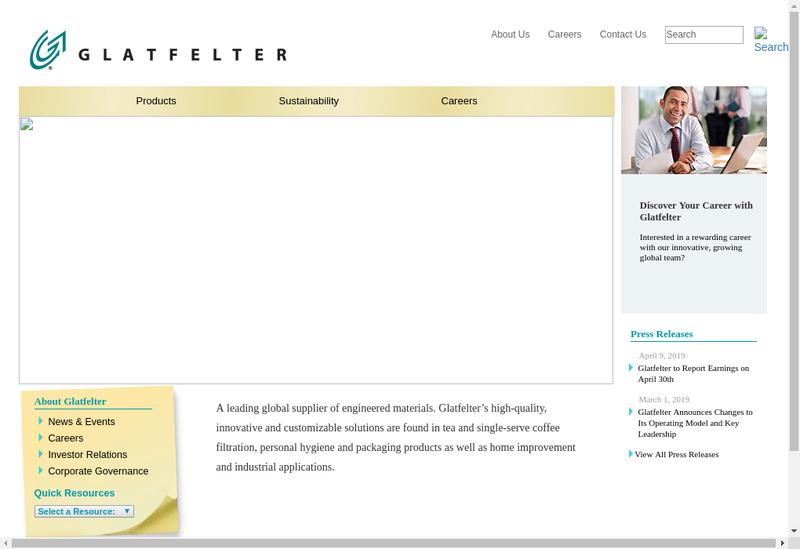 Capture d'écran du site de Glatfelter Scaer SAS