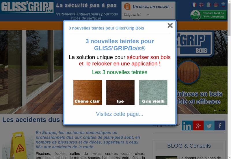 Capture d'écran du site de Glissgrip SAS