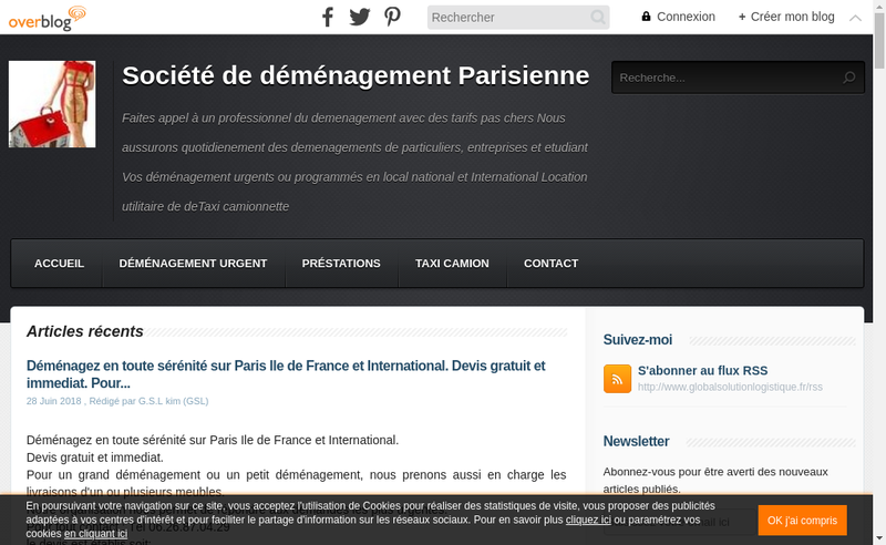 Capture d'écran du site de Global Solution Logistique