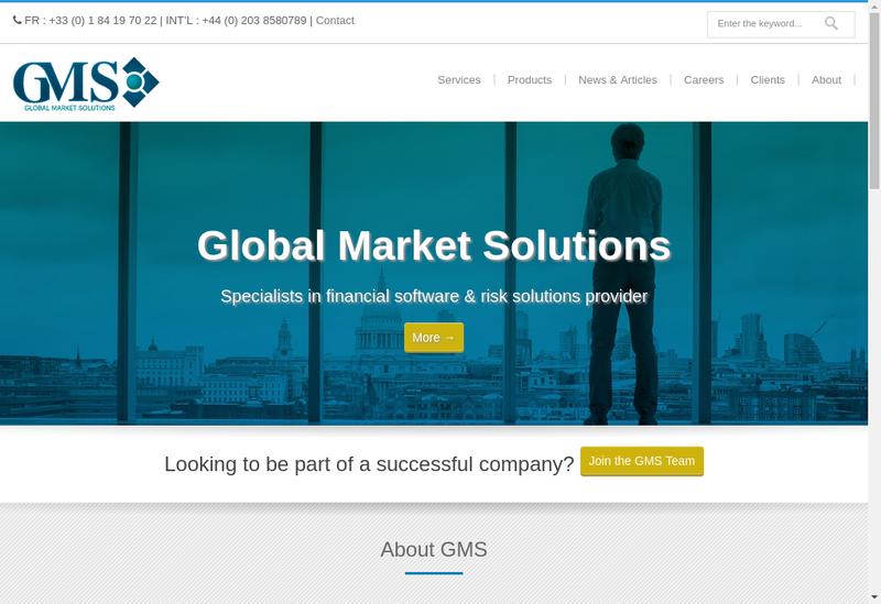 Capture d'écran du site de Global Market Solutions