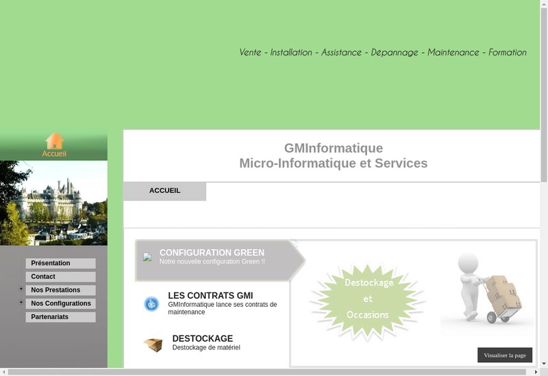 Capture d'écran du site de Gm Informatique