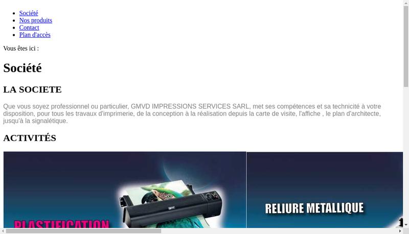 Capture d'écran du site de Gmvd Impressions Services