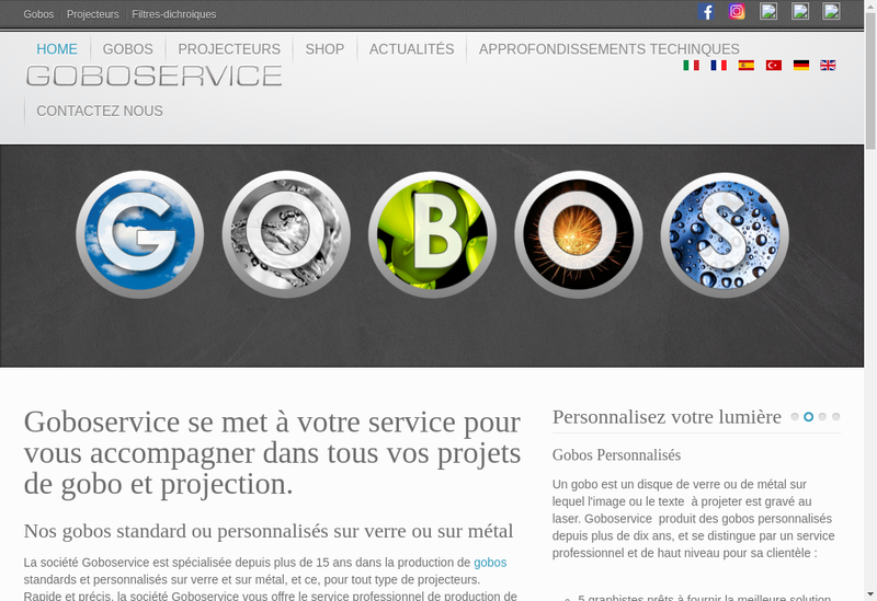 Capture d'écran du site de Goboservice France