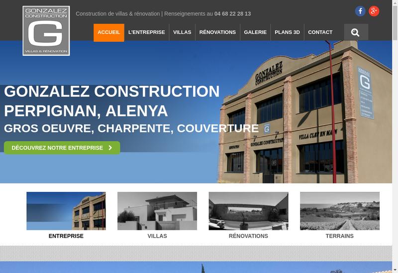 Capture d'écran du site de Gonzales Construction