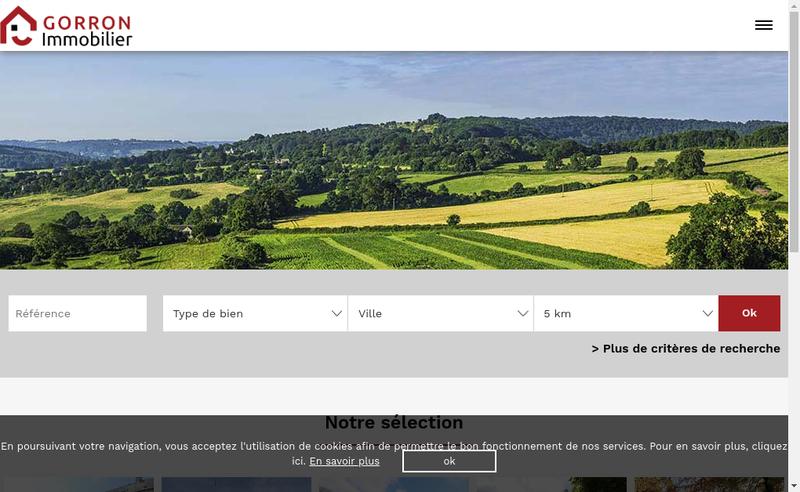 Capture d'écran du site de Gorron Immobilier