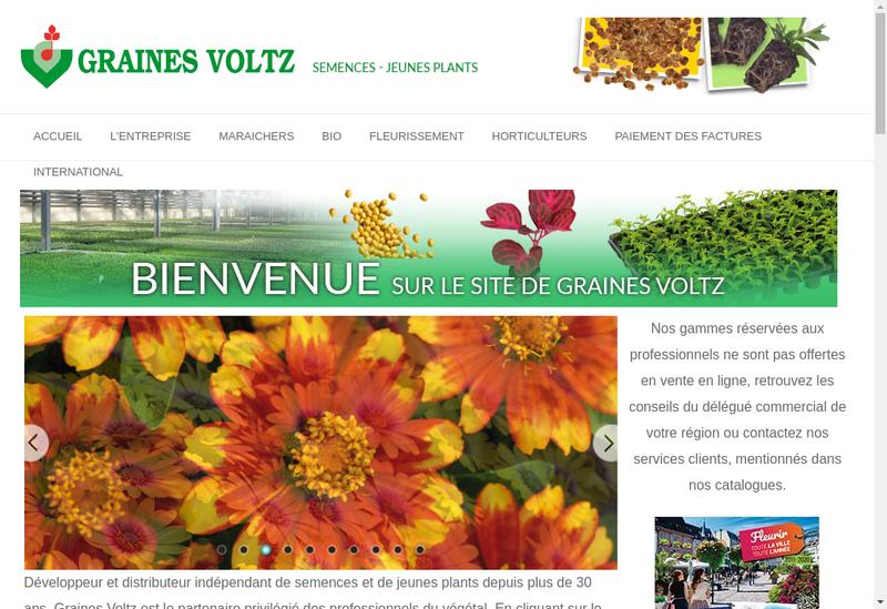 Capture d'écran du site de Graines Voltz