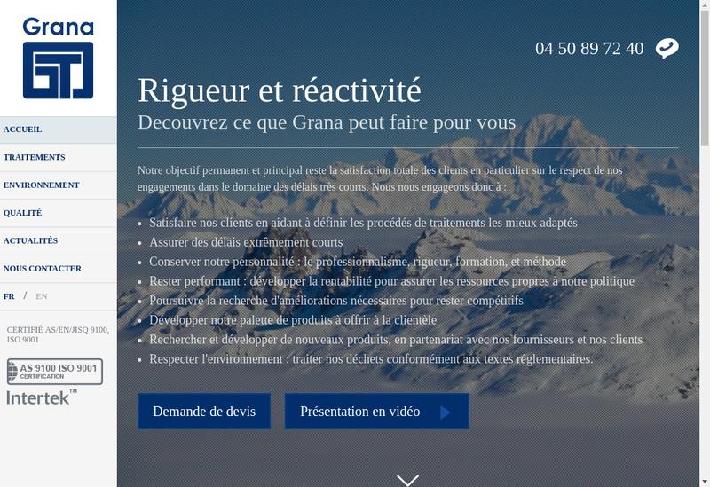 Capture d'écran du site de Grana Tribofinition