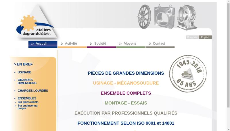 Capture d'écran du site de Ateliers du Grand Chatelet