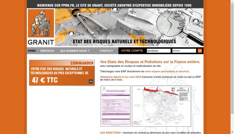 Capture d'écran du site de Granit