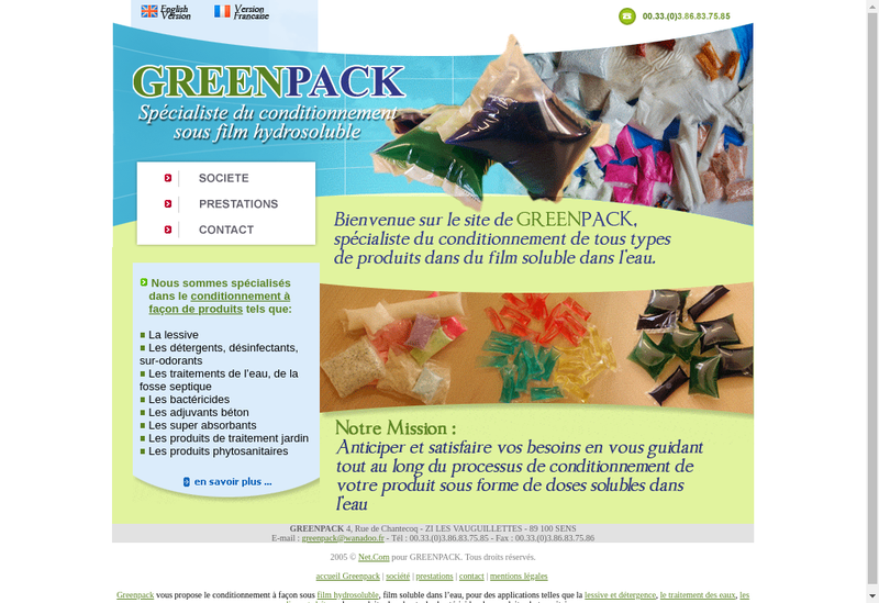 Capture d'écran du site de Greenpack