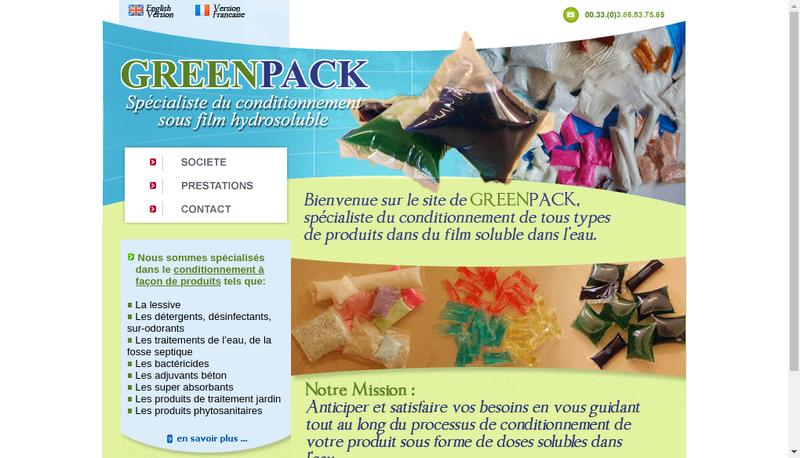 Capture d'écran du site de Greenpack