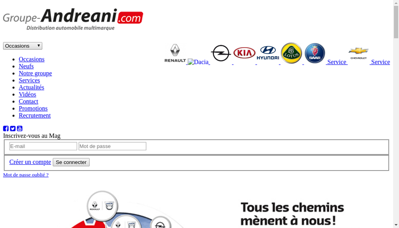 Capture d'écran du site de Alca Automobile