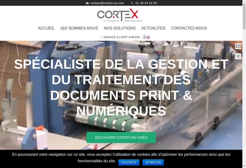 Capture d'écran du site de Cortex