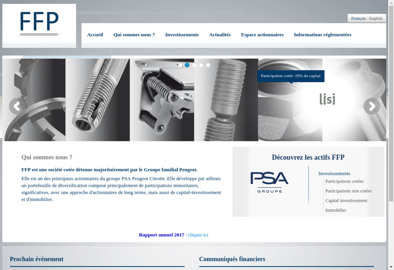 Capture d'écran du site de Ffp Invest