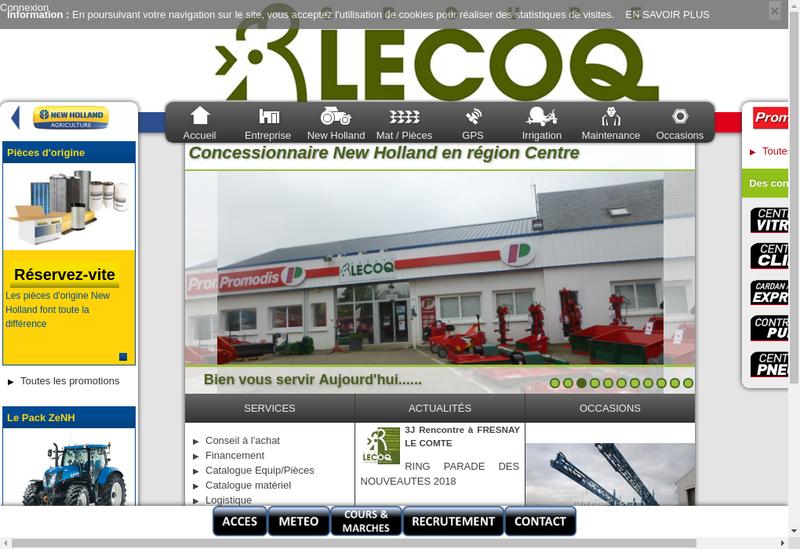 Capture d'écran du site de Groupe Lecoq